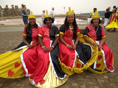 Ladies in carnival costume